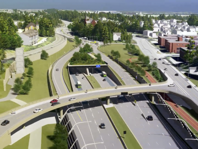 Close to Strand there will also be a lid over the E18 highway. A bike lane of high standard will also be part of the system. Photo: ViaNova Plan og Trafikk